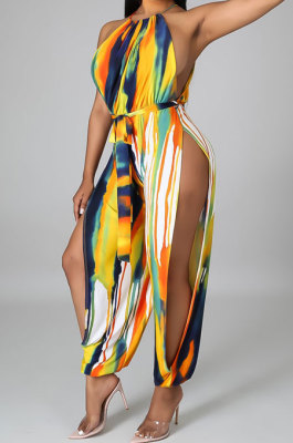 Women Condole Belt Sexy Open Fork Bodycon Jumpsuits (Contain Waist Knotted Strap)GHH036