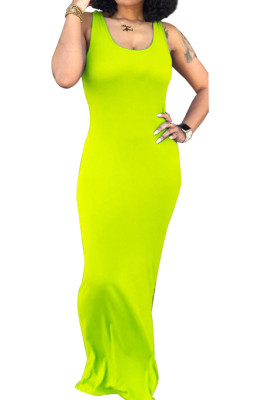 Pure Color Sexy Vest U Neck Casual Long Dress SY8810