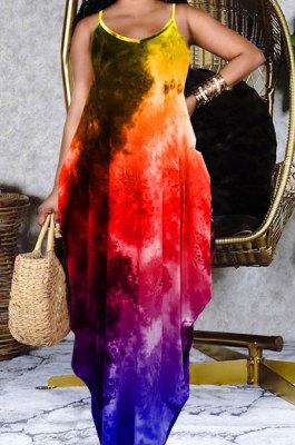 Tie Dye Printing Condole Belt Loose Long Dress GHH037