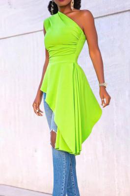 Euramerican Fashion Irregularity Flounce Skirt's Hemline Top X9296