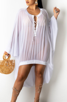 Fashion Casual Net Yarn Perspective Beach Blouse SY8807