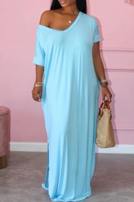 Fashion Short Sleeve Hem Open Fork Deep V Loose Long Dress X9300