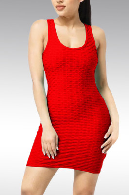 Euramerican Pure Color Waffle Package Buttocks Vest Dress X9298