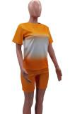 Euramerican Gradient Positioning Print Loose Short Sleeve Shorts Sets HHM6522