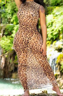 Sexy Perspective Leopard Colorful Printing Sanbeach Net Yarn Long Dress JP1035