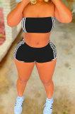 Fashion Casual Sport Pure Color Chest Wrap Shorts Sets JP1036