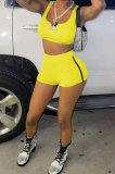 Women Pure Color Vest Sport Casual Shorts Sets NK242