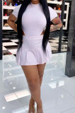 Trendy Casual Sexy Pure Color Invisible Zipper Cultivate One's Morality Jumpsuits Ruffle Skirts Sets SM9176