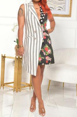 Spliced Wave Point Flowers Stripe Sleeveless Mini Dress AD0404