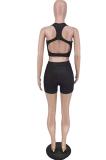 Euramerican Fashion U-neck Black Casual Backless Short Sets AMX6008