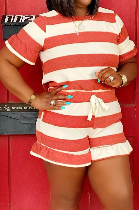 Euramerican Stripe Print Loose Agaric Edge Short Sleeve T Shirts Sets HHM6519