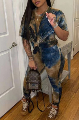 Casual Fashion Loose Tie Dye Short Sleeve Two-Piece TD8028