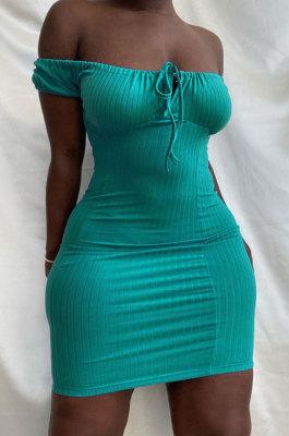 Pit Bar High Waist Chest Wrap Pure Color Mini Dress HM5456