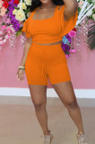 Sexy Off Shoulder Dutch Side Sleeve Shorts Two-Piece YYF8216