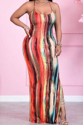 Sexy High Waist Condole Belt Printing Side Open Fork Long Dress HM5440