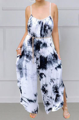 Fashion Big Yards Tie Dye Loose Sling Casual Jumpsuits MK048