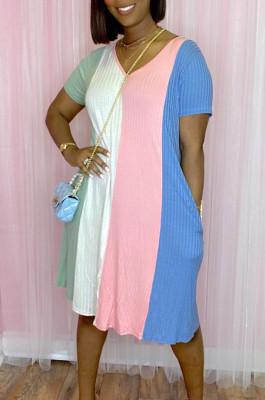 Summer Stripe Print Bouble Pocknet Casual Dress JG045