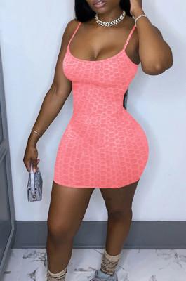 Summer Fashion Pure Color Pineapple Cloth Sling Mini Dress MK047