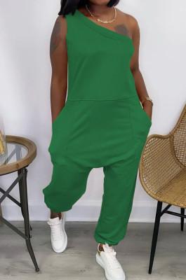 Euramerican Loose Streets Inclined Shoulder Pocket Sport Jumpsuits YYF8215