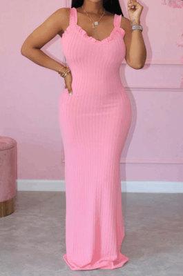 Women Pure Color Knitting Condole Belt Side Open Fork Agaric Edge Long Dress HM5458