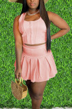 Euramerican Fashion Pure Color Vest Pleated Skirt They Sound Sets CM2129