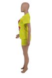 Women Lips Print Loose Sport Casual Shorts Sets AMX6011