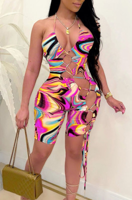 Sexy Hang A Neck Tie Dye Hollow Out Digital Print Jumpsuits CM2131