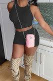 Trendy Pure Color Pit Bar Round Neck Bew Waist Cultivate Oen's Morality Vest Shorts Sets SM9179