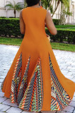 Fashion Geometric Print Simple Giant Swing Dress CM2119