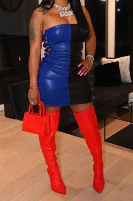 Sexy Fashion Eyelet Bind Spliced Boob Tube Top Mini Dress HM5451