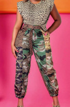 Fashion Casual Camouflage Leopard Grain Cargo Pants With A Belt LS6435