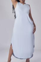 Euramerican Pure Color Open Fork Casual Long Dress E8591