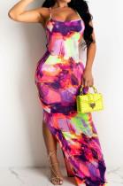 Fashion Summer Coloured Drawing Print Sling Long Dress LS6441