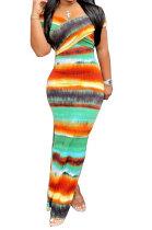 Tie Dye Cross Chest Wrap Off Shoulder Two Wear Temperament Long Dress MOL160