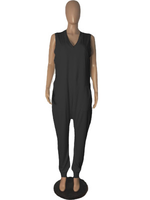 Pure Color Sleeveless Loose Casual Jumpsuits R6427