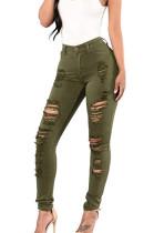 Fashion Stretch High Waist Cowboy Hole Tight Pants SMR2443