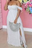 Women Chest Wrap Sleeveless Open Fork Long Dress AL158