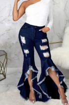 Fashion Spliced Hole Water Washing Cowboy Stertch Flared Pants SMR2468