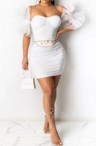 Sexy Irregularity Sleeve Pure Color Mini Dress R6430