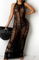Sexy Pure Color Hang A Neck Knit Beach Long Dress TRS1150