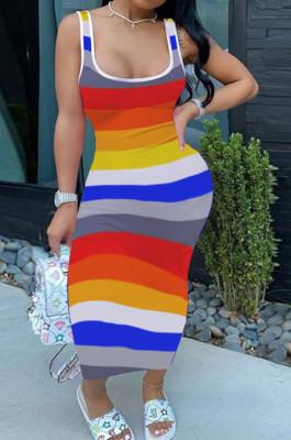 Fashion Contrast Color Stripe Print Package Buttocks Sext Dress H1655