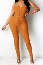 Women Condole Belt Eyelet Bind Sexy Bodycon Jumpsuits Q843