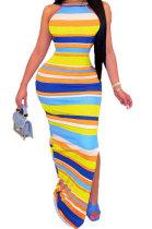Stripe Printing Halter Neck Backless Long Dress CY1332