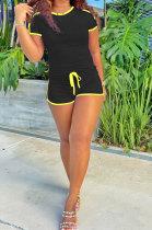 Pure Color Parallel Bar Design Rest Sport Short Sleeve Shorts Sets MOL163