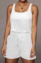 Pure Color Vest Sleeveless Romper Shorts Q845