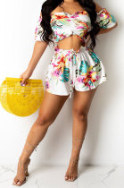 Navel Exposure Off Shoulder Trendy Personality Bandeau Bra Printing Shorts Sets DY6976