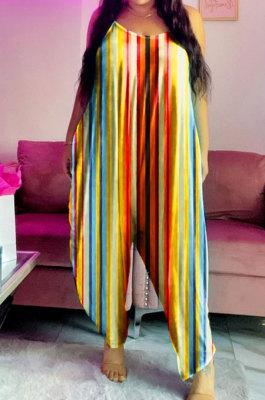 Colorful Contrast Color Printing Loose Condole Belt Casual Jumpsuit MOL165