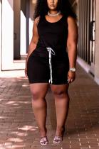 Plus Size Black Casual Sleeveless Vest Short Sets TC075