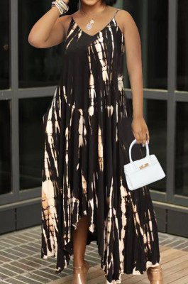 Fashion Have Pocket Open Fork Tie Dye Sling Dress QSS2707