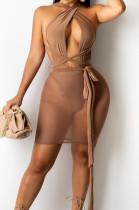 Sexy Fashion Chest Warp Knotted Strap Milk Silk Net Yarn Spliced Dress BS1271